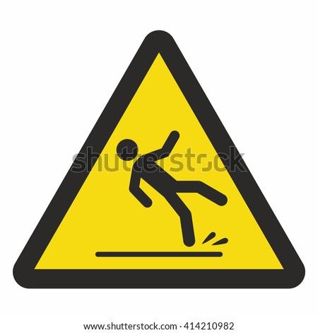 Caution wet floor sign - stock vector