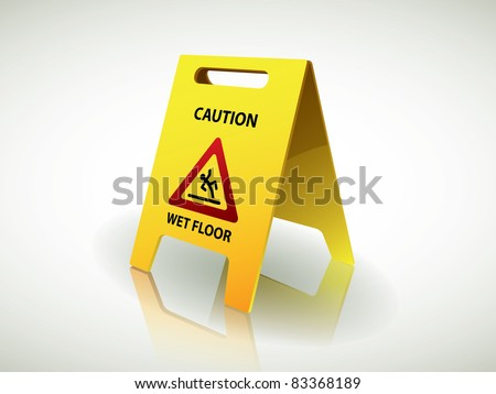 Caution - wet floor sign - stock vector