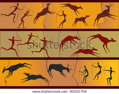 Cave figures of primitive people in a vector - stock vector