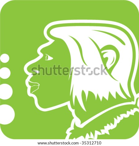 Cave Man Humanoid Icon - stock vector