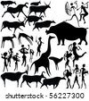 Cave painting on a white background. Vector art-illustration. - stock