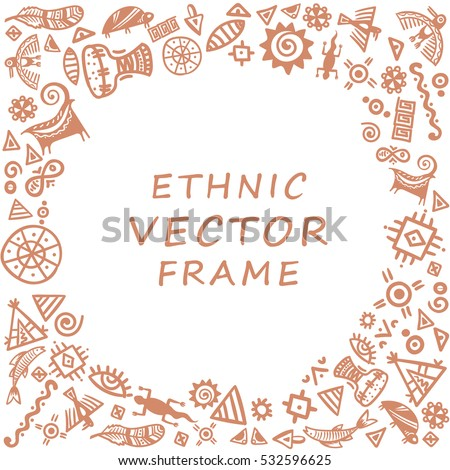 Cave Painting Tribal Ethnic Symbols Round Stock Vector Royalty Free
