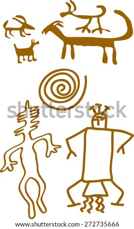 cave paintings of primitive people - stock vector