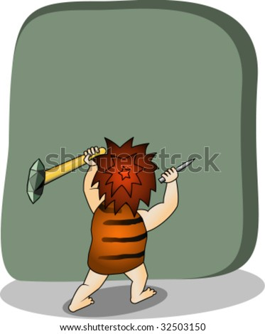 Cave person chops down on inscription - stock vector