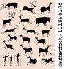Cave rock painting animals silhouettes vector set - stock vector