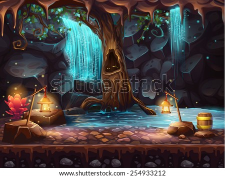Cave with a waterfall - magic tree and barrel of gold - stock vector