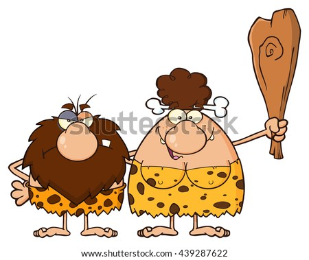 Caveman Couple Cartoon Mascot Characters With Brunette Woman Holding A Club. Vector Illustration Isolated On White Background - stock vector