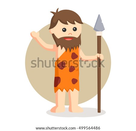 caveman holding spear vector illustration design