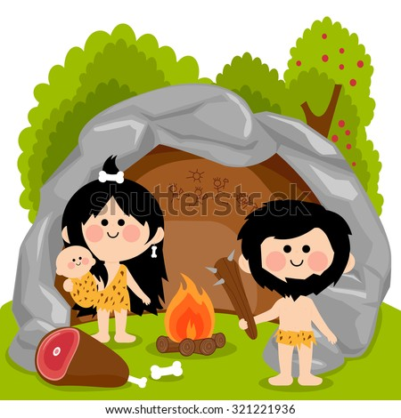 Cavemen family in stone cave.  - stock vector