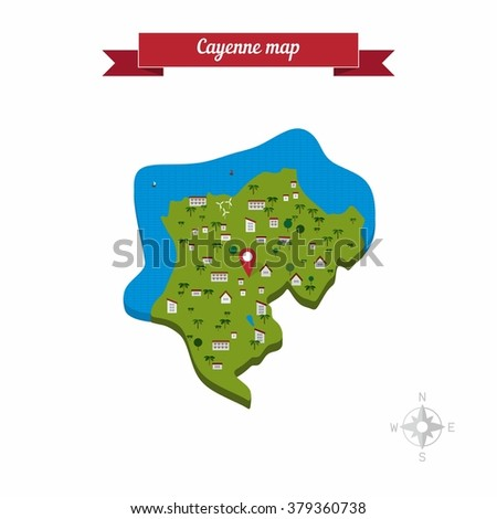 Cayenne French Guiana Map Flat Style Stock Vector 2018 379360738