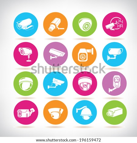 cctv icons, video surveillance buttons - stock vector