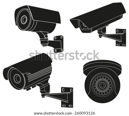 CCTV security camera. Vector Illustration isolated on white background. - stock vector