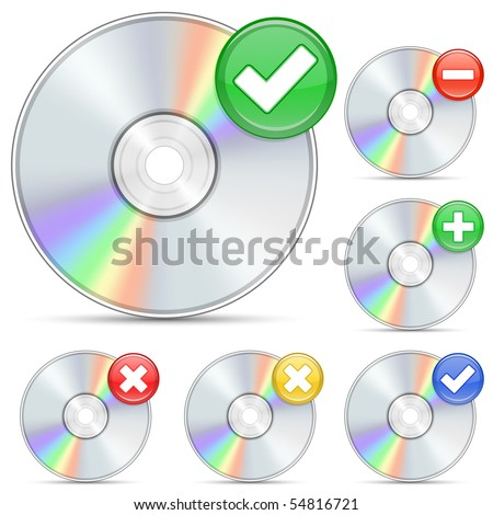 CD and DVD icons. Software disks and signs. - stock vector