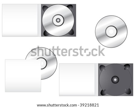 CD and its box into different positions. Ideal for packaging purposes. Linear and radial gradients - stock vector
