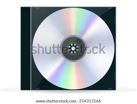 CD Box with compact disc - vector drawing isolated on white background - stock vector