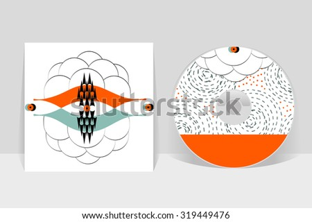 CD cover design template. Abstract linear pattern graphics - stock vector