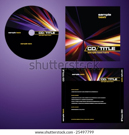 CD cover design with copy space, vector. Multicolor. - stock vector