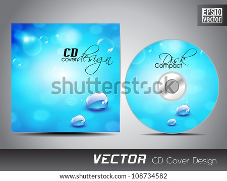 CD cover design with water wave splash. EPS 10. - stock vector
