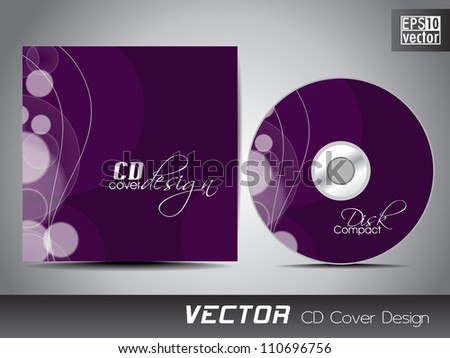 CD cover presentation design template with copy space and circle effect, editable EPS10 vector illustration. - stock vector