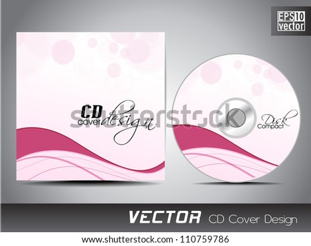 CD cover presentation design template with copy space and wave effect. EPS 10.
