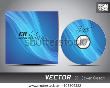 CD cover presentation design template with copy space and wave effect in blue color, editable EPS10. Vector illustration. - stock vector