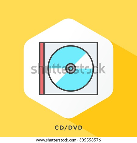 CD / DVD box icon with dark grey outline and offset flat colors. Modern style minimalistic vector illustration for latest DVD releases, new movies and TV shows on DVD. - stock vector