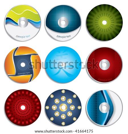 CD & DVD label designs 3 - stock vector