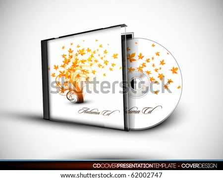 CD Flourish Cover Design with 3D Presentation Template | Everything is Organized in Layers Named Accordingly | To Change the Cover Design use the Cd and Cover Design Layers - stock vector