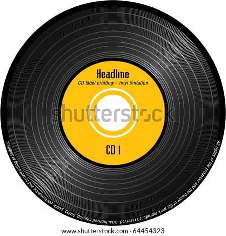 CD label printing - imitation vinyl - stock vector