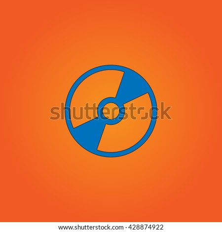 CD or DVD. Blue flat icon with black stroke on orange background. Collection concept vector pictogram for infographic project and logo - stock vector