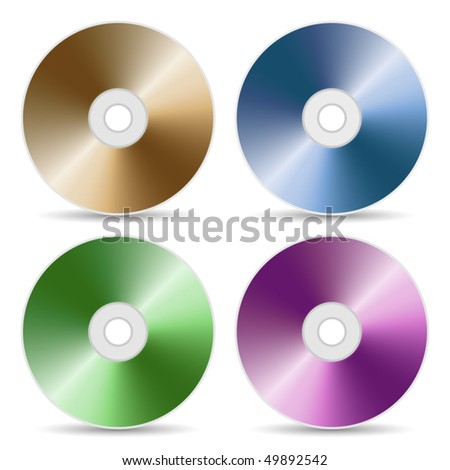 CD or DVD color set, realistic vector illustration