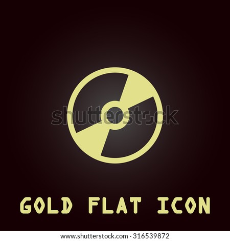 CD or DVD. Gold flat vector icon. Symbol for web and mobile applications for use as logo, pictogram, infographic element - stock vector