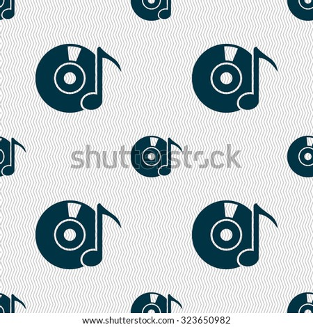 CD or DVD icon sign. Seamless abstract background with geometric shapes. Vector illustration - stock vector