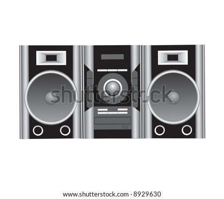 cd player and speakers vector illustration
