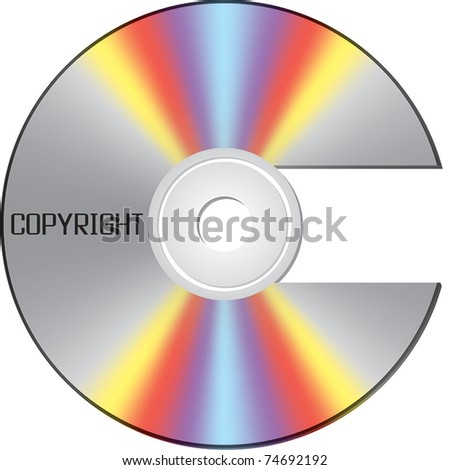 CD shaped as copyright sign - stock vector