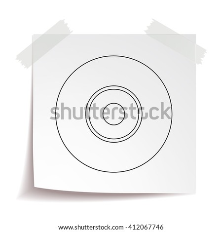 CD vector icon. Compact disc vector line icon isolated on white paper background.
