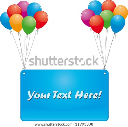 celebrate banner and color balloons
