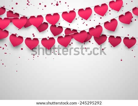 Celebrate banner. Love party heart flags with confetti. Vector illustration.   - stock vector