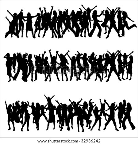 Celebrate Dance Crowd Silhouettes - stock vector