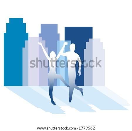 celebrate in the city - stock vector