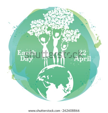 Celebrating card for Earth Day. Vector illustration.  - stock vector