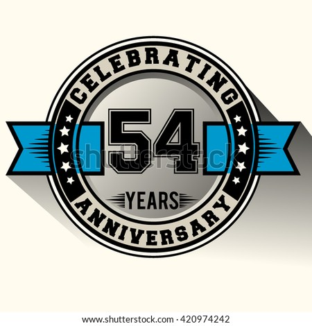 Celebrating 54th anniversary logo, 54 years anniversary sign with blue ribbon, retro design.