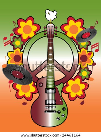 Celebrating the 40th Anniversary of the Woodstock Music and Art Fair. - stock vector
