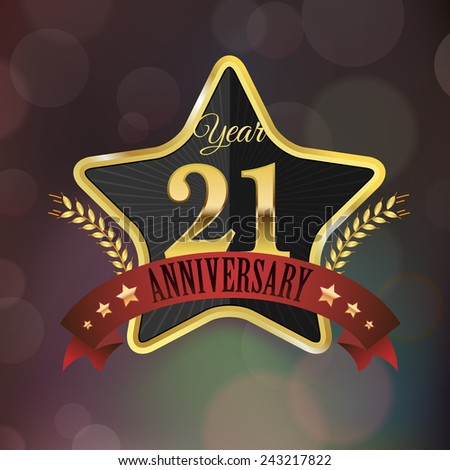 Celebrating 21 Years Anniversary - Golden Star with Laurel Wreath Seal with Red Golden - Layered EPS 10 Vector. - stock vector