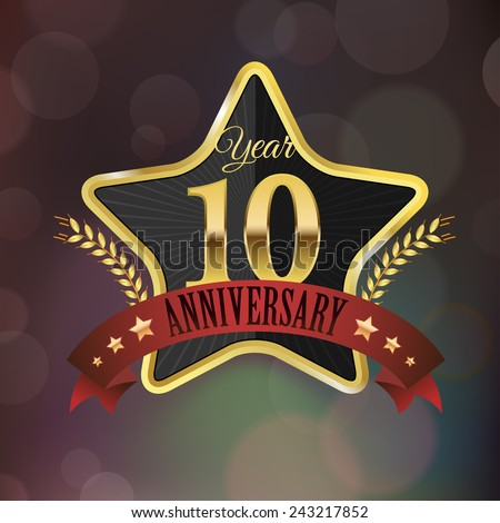Celebrating 10 Years Anniversary - Golden Star with Laurel Wreath Seal with Red Golden - Layered EPS 10 Vector. - stock vector