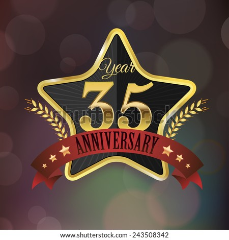 Celebrating 35 Years Anniversary - Golden Star with Laurel Wreath Seal with Red Golden - Layered EPS 10 Vector. - stock vector