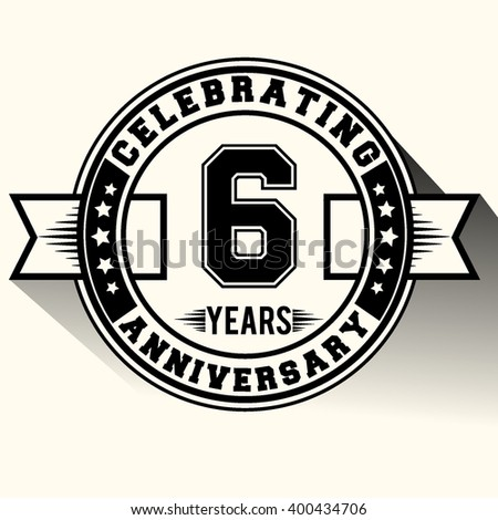 Celebrating 6 years anniversary logo, Celebrating 6th anniversary sign, retro design.
