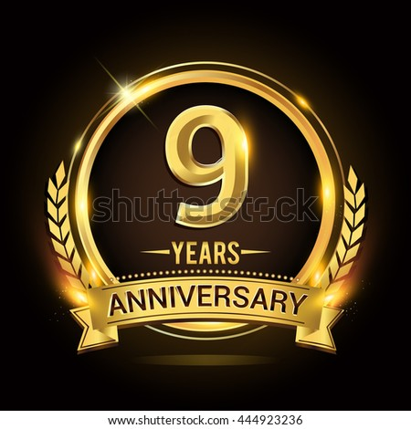 Celebrating 9 years anniversary logo with golden ring and ribbon, laurel wreath vector design. - stock vector