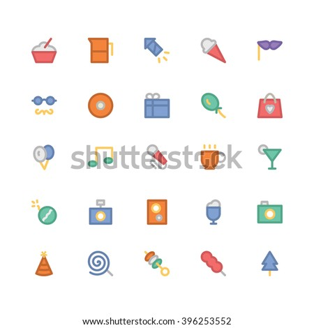 Celebration and Party flat bold Vector Icons 2