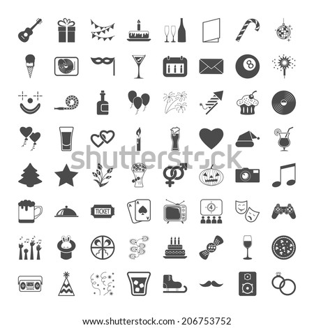Celebration and Party icons set. Vector illustration. - stock vector